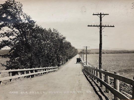 A 1930 photo of the Sandbar Bridge.