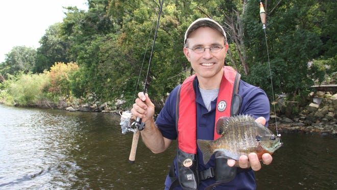 Jason Halfen of Eau Claire holds a bluegill caught fishing on Lake Pepin in Wisconsin.