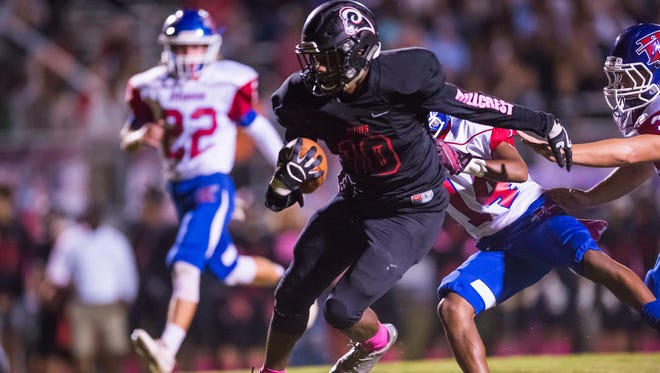 Junior wide receiver Quendarius Jefferson (10) and the Hillcrest Rams are No. 10 in Class AAAAA in the latest S.C. Prep Football Media Poll.