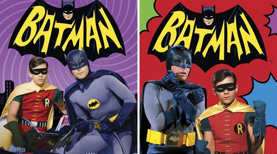 Cover art for the upcoming DVD (left) and Blu-ray releases of 'Batman: The Complete Television Series' (Nov. 11) from Warner Bros. Home Video.
