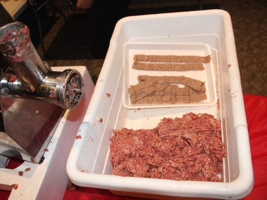 Ground and blended meat (foreground) and extruded jerky