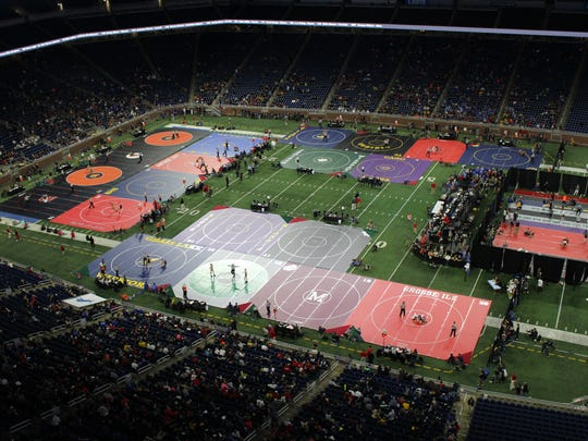 The scene during the MHSAA individual wrestling state