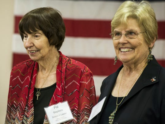Patricia Stephens of South Annville (left) poses for a picture with Loir Herr, chairwoman of the Lebanon County Democratic Party as the Lebanon County Democrats held their annual Jefferson & Jackson dinner at the Campbelltown Fire Company on Saturday, September 26, 2015. Stephens received the 2015 Democrat of the Year Award. Jeremy Long- Lebanon Daily News