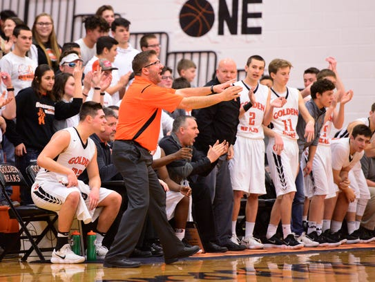 Gibsonburg coach Brent Liskai expresses his feelings Thursday.