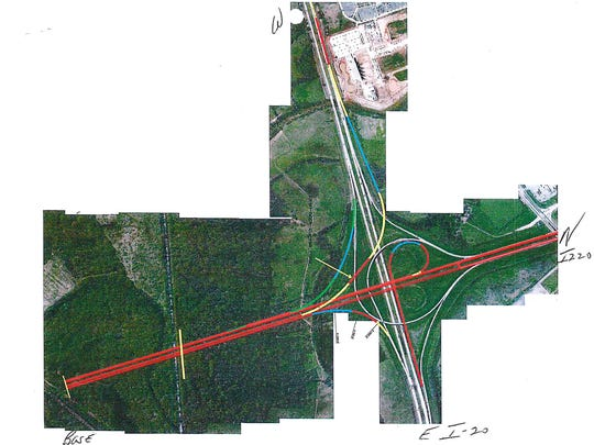 One variation proposed for the traffic pattern of an expanded interchange at I-20 and I-220 in Bossier Parish, by the Louisiana Department of Transportation and Development.