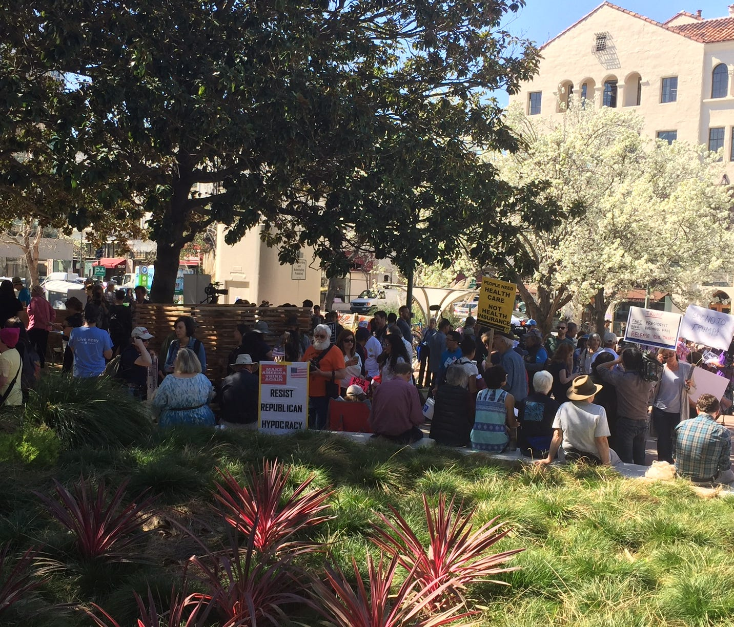 The crowds at a Pi Day protest in Palo Alto, Calif.. Organizers are encouraging  tech workers to become politically active.