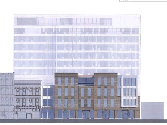 A rendering of the front side of Harold's Square. The