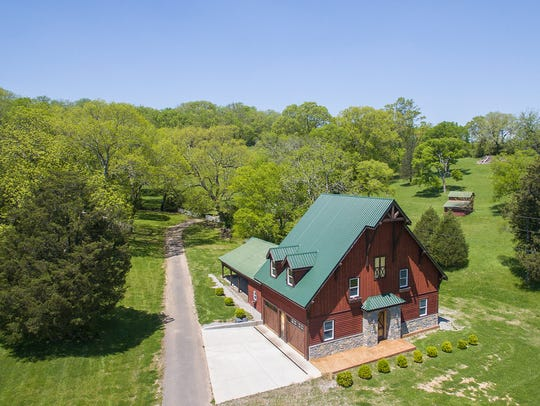 Drone view of the barn at 2060 Hillsboro Road. The