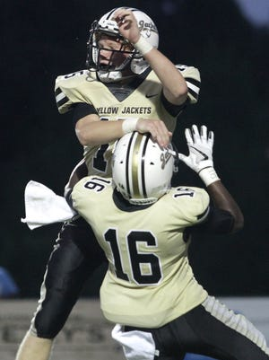 Springfield's Cale Jones celebrates his TD with Brandon Coleman-Jones against Gallatin on Friday, August 17, 2018.