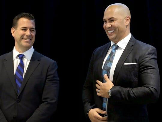 New York Mets new manager, Carlos Beltran, right, laughs with general manager Brodie Van Wagenen at the start of an introductory baseball news conference at Citi Field, Monday, Nov. 4, 2019, in New York.  (AP Photo/Seth Wenig)