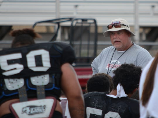 McMurry football coach Lance Hinson talks to his team after a practice. Hinson is now entering his fifth year as head coach at McMurry.