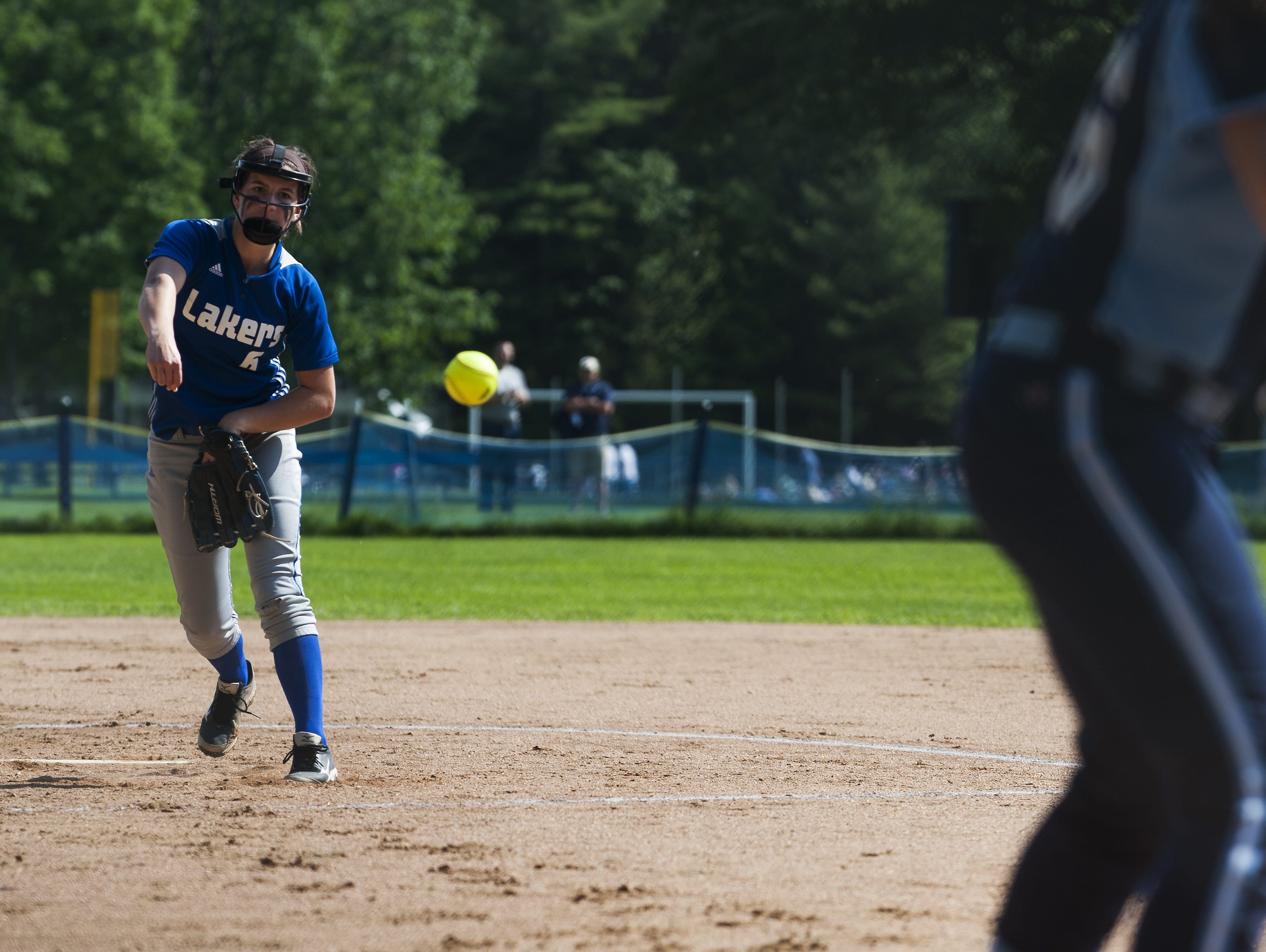 Colchester pitcher Alli Sheets (6) delivers a pitch during a Division I high school softball quarterfinal game Friday.