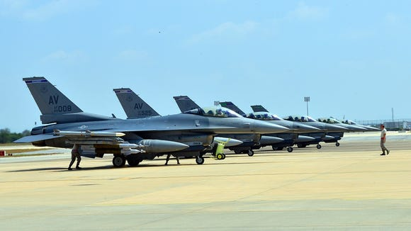 Six U.S. Air Force F-16 Fighting Falcons from Aviano Air Base, Italy, arrived at Incirlik Air Base, Turkey, Aug. 9 in support of Operation Inherent Resolve.