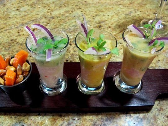 A flight of leche de tigre, or tiger's milk, the citrus-based Peruvian marinade for ceviche, at Lima Restaurant and Pisco Bar on Collier Boulevard in Golden Gate.