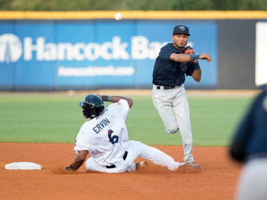Phillip Ervin (6) slides into second base as shortstop Robelys Reyes (29) turns the double play during the Mobile BayBears vs. Blue Wahoos baseball game at Blue Wahoos Stadium in Pensacola, FL on Wednesday, June 15, 2016.