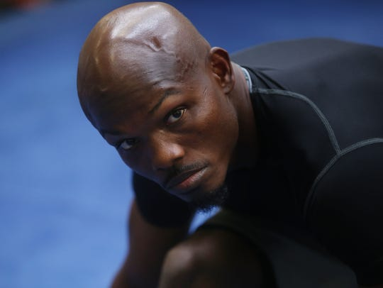 Timothy Bradley stretches as part of his pre-workout