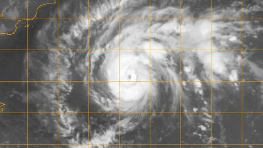 A satellite image shows Cyclone Chapala spinning in the Arabian Sea Thursday Oct. 29, 2015.