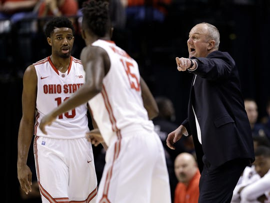 Ohio State Buckeyes head coach Thad Matta gets after his offense against the Penn State Nittany Lions at Bankers Life Fieldhouse in Indianapolis on March 10, 2016.