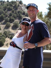 Heidi Hurst and Pete Parker at their wedding ceremony during the Reno-Tahoe Odyssey at exchange 30 in Virginia City in 2012. Parker ran leg 30 and after the ceremony Hurst continued onto leg 31.