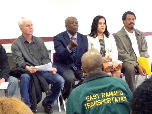 Mayor Delhomme speaks with union members