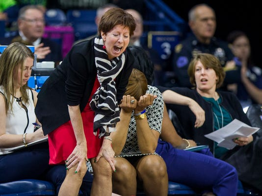 Notre Dame head coach Muffet McGraw reacts following a turnover during a second-round game against Purdue in the NCAA women's college basketball tournament, Sunday, March 19, 2017, in South Bend, Ind. (AP Photo/Robert Franklin)