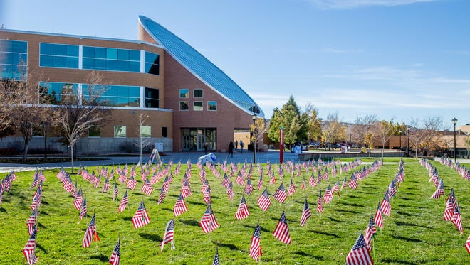 Flags are placed on the lower quad of the Southern Utah University campus on Nov. 11, 2015.