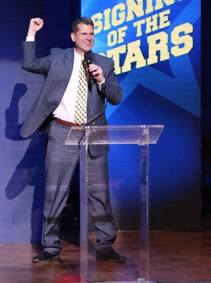 "Michigan football coach Jim Harbaugh speaks during the ""Signing of the Stars"" event at Hill Auditorium on Feb. 3, 2016, in Ann Arbor."