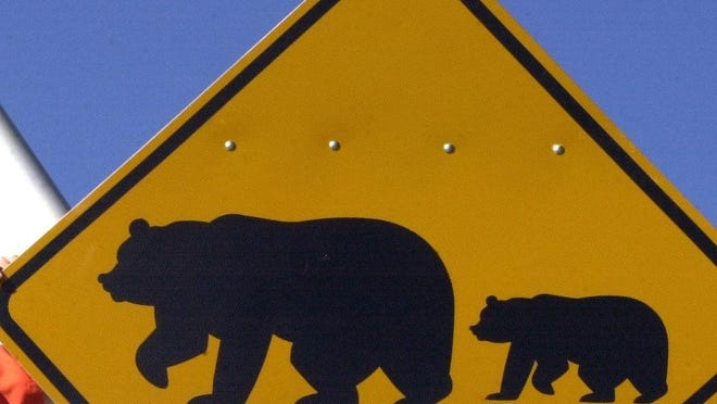 A bear crossing sign installed by Nevada Department of Transportation.