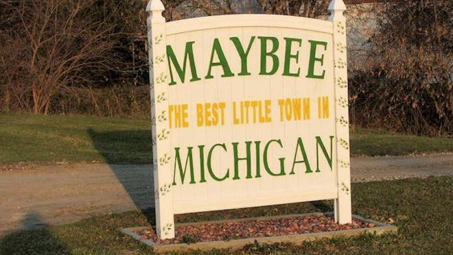 This sign greets visitors to the Village of Maybee.