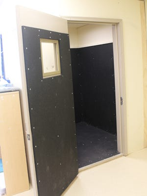 "A ""time-out"" or seclusion room at Horn Elementary is shown on May 19, 2016. Iowa City Community School District staff use the rooms to address behavior issues when students pose a safety risk to themselves or others."