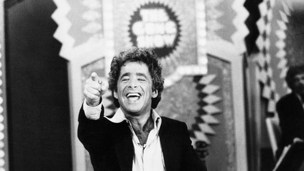 "Chuck Barris reacts during a taping session of ""The"