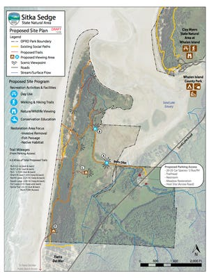 This map outlines the plan for Sitka Sedge Natural Area, the newest state park in Oregon.