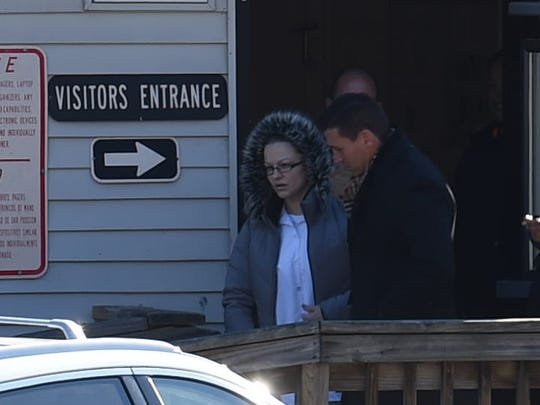 Angelika Graswald exits Bedford Hills Correctional Facility with her lawyer Richard Portale.