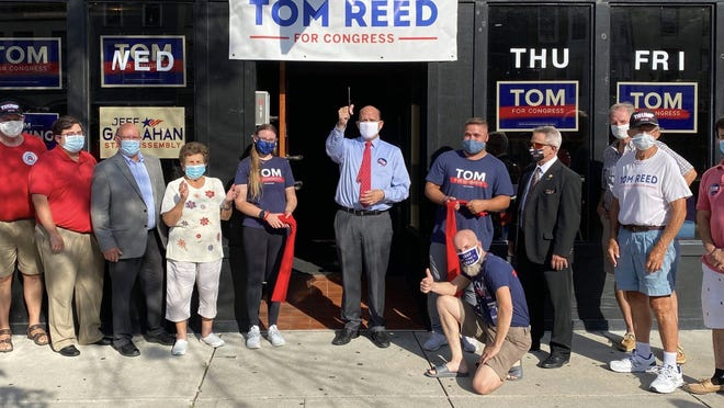 Rep. Tom Reed, R-Corning, officially opens his Geneva campaign office. Reed, who is being challenged by Democrat Tracy Mitrano, represents a portion of Ontario County.