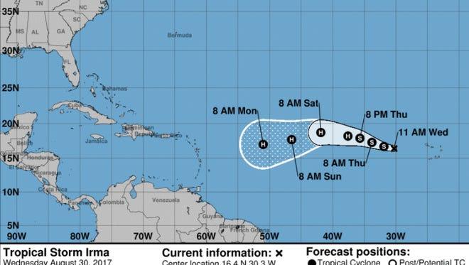 Forecast of Tropical Storm Irma Wednesday, Aug. 30, 2017.