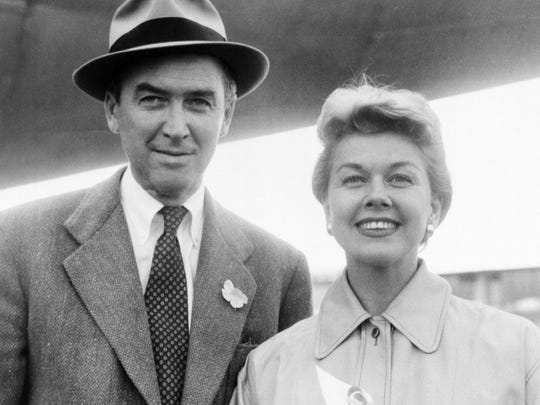 """James Stewart and Doris in """"The Man Who Knew Too Much."""""""