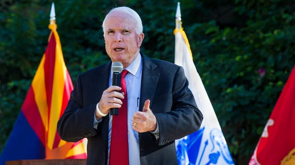 Sen. John McCain spoke about U.S. foreign policy during a USAA Employee Town Hall in Phoenix,  Friday, Nov.13, 2015.