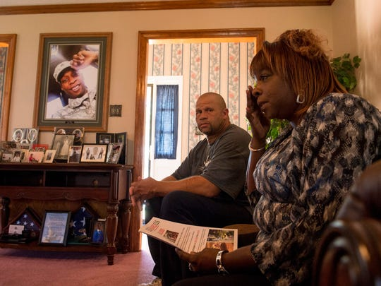 October 6, 2016 - Valerie and Eric Henderson discuss the $20,000 CrimeStoppers reward offered for information about the murder of their son, Sgt. Calvin Wilhite, Jr. Wilhite was shot and killed near FedExForum on May 24, 2015. His family raised $19,000 to add to the initial CrimeStoppers offer of a $1,000 reward. (Brandon Dill/Special to The Commercial Appeal)