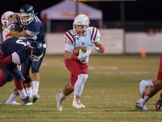 Central Catholic's Bailey Badeaux runs in the open field during the Eagles' win over Lafayette Christian on Friday.