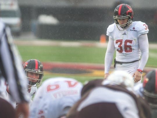 UL kicker Stevie Artigue lines up for a PAT during a December 2016 game at UL Monroe. He's back after missing last year with an ACL tear.