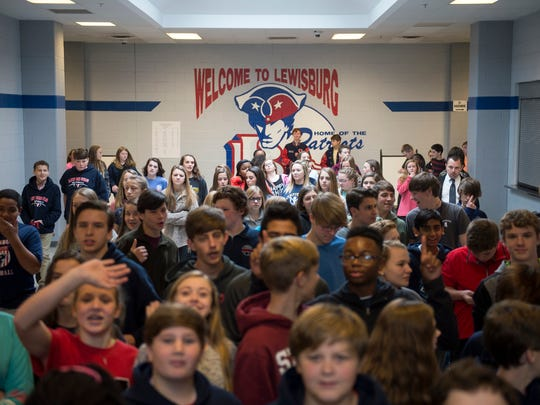Students fill the halls after an event at Lewisburg