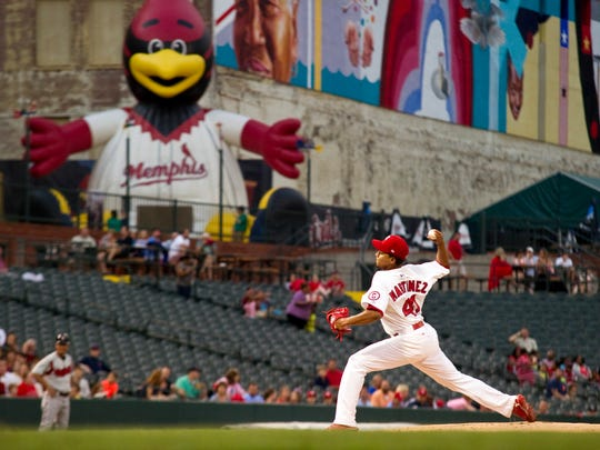 July 5, 2013 - Memphis Redbirds pitcher Carlos Martinez pitches against the Nashville Sounds at AutoZone Park.