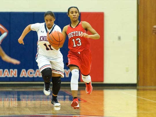 Ke'ara Charles moves the ball down court as LCA takes