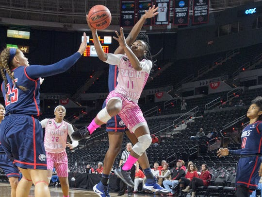 UL's Jaylyn Gordon drives to the basket during her
