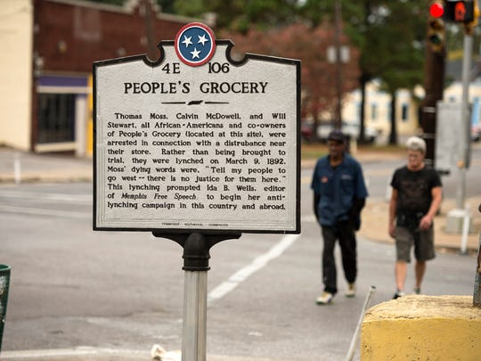 A Tennessee Historical Commission marker commemorates the site at Mississippi and Walker where three African American co-owners of People's Grocery were lynched in 1892. The crime caused journalist Ida B. Wells to begin her campaign against lynching.