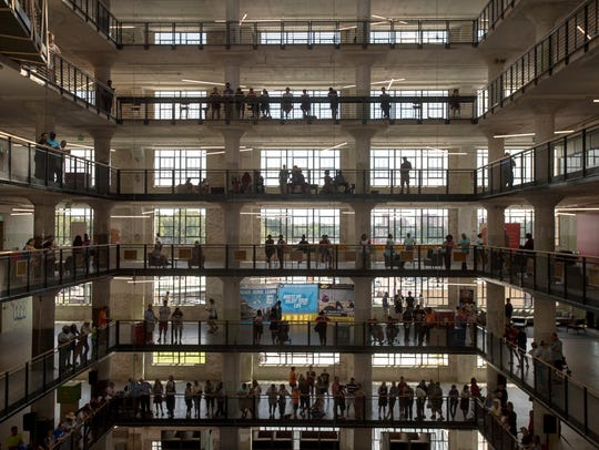 Visitors fill central atrium during the grand opening
