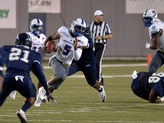 September 9, 2017 - Tennessee State University quarterback Treon Harris, 5, carries the ball during the second half of the Southern Heritage Classic football game between TSU and Jackson State University at Liberty Bowl Memorial Stadium in Memphis, Tenn. TSU won the game 17-15. (Brandon Dill/Special to The Commercial Appeal)