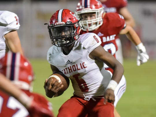 Catholic High running back JaDan Stokes is hoping to find more running room against Notre Dame's powerful defense this time around.