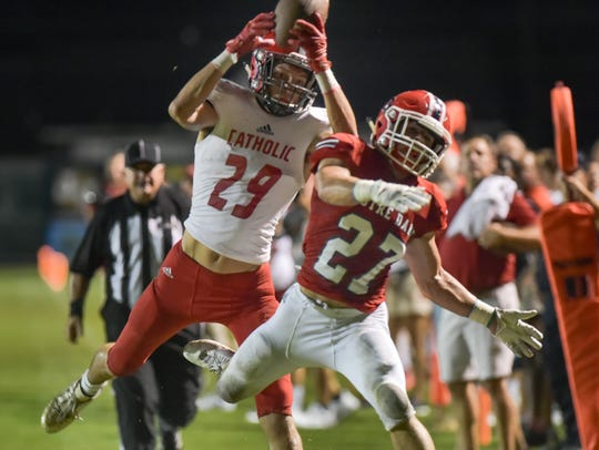 Catholic High wide receiver Peter LeBlanc will likely have to produce big plays in the passing game if the Panthers are to fare better than their 37-0 loss to the Pios back in October.