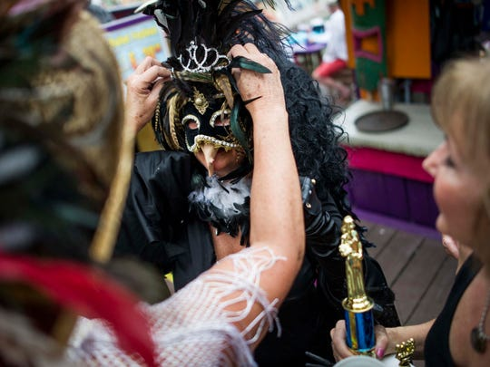 Nancy Young, of Fenton, Michigan, was crowned Buzzard Lope Queen at the Mullet Fest in Goodland on Sunday, Jan. 28, 2018.